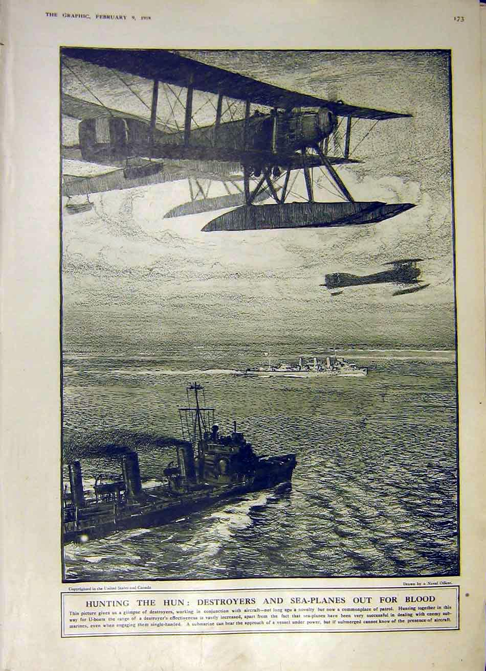 Print Hunting Germans Sea-Plane Destroyer Sea Ww1 1918 73Ddd0 Old Original