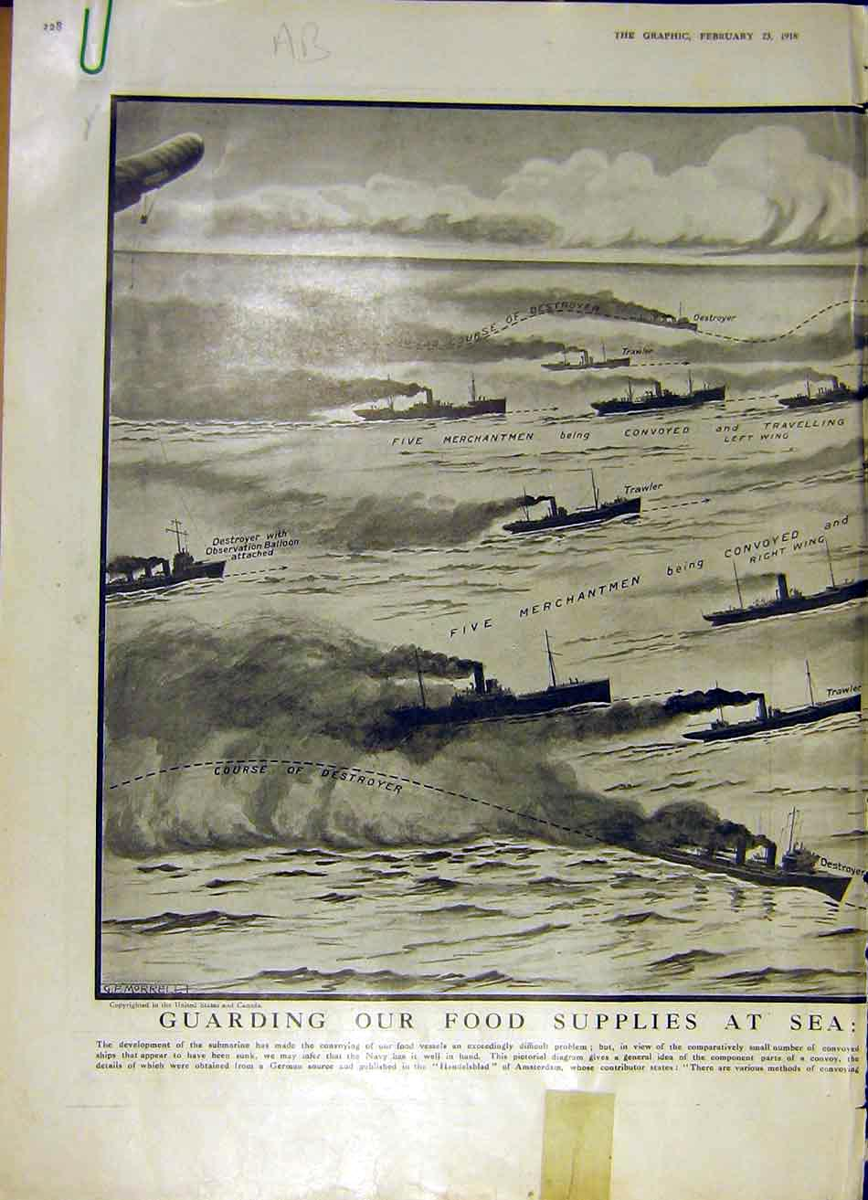 Print Sea Ship Battle Diagram Convoy Destroyer Trawler Ww1 28Addd0 Old Original