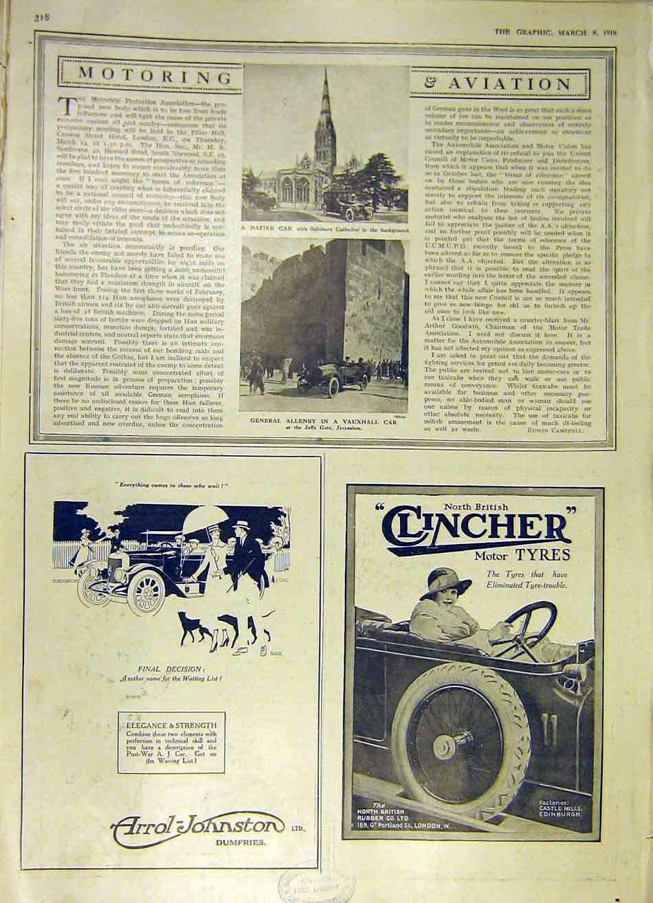 Print Motor Vauxhall Napier Arrol-Johnston Clincher 1918 18Ddd0 Old Original