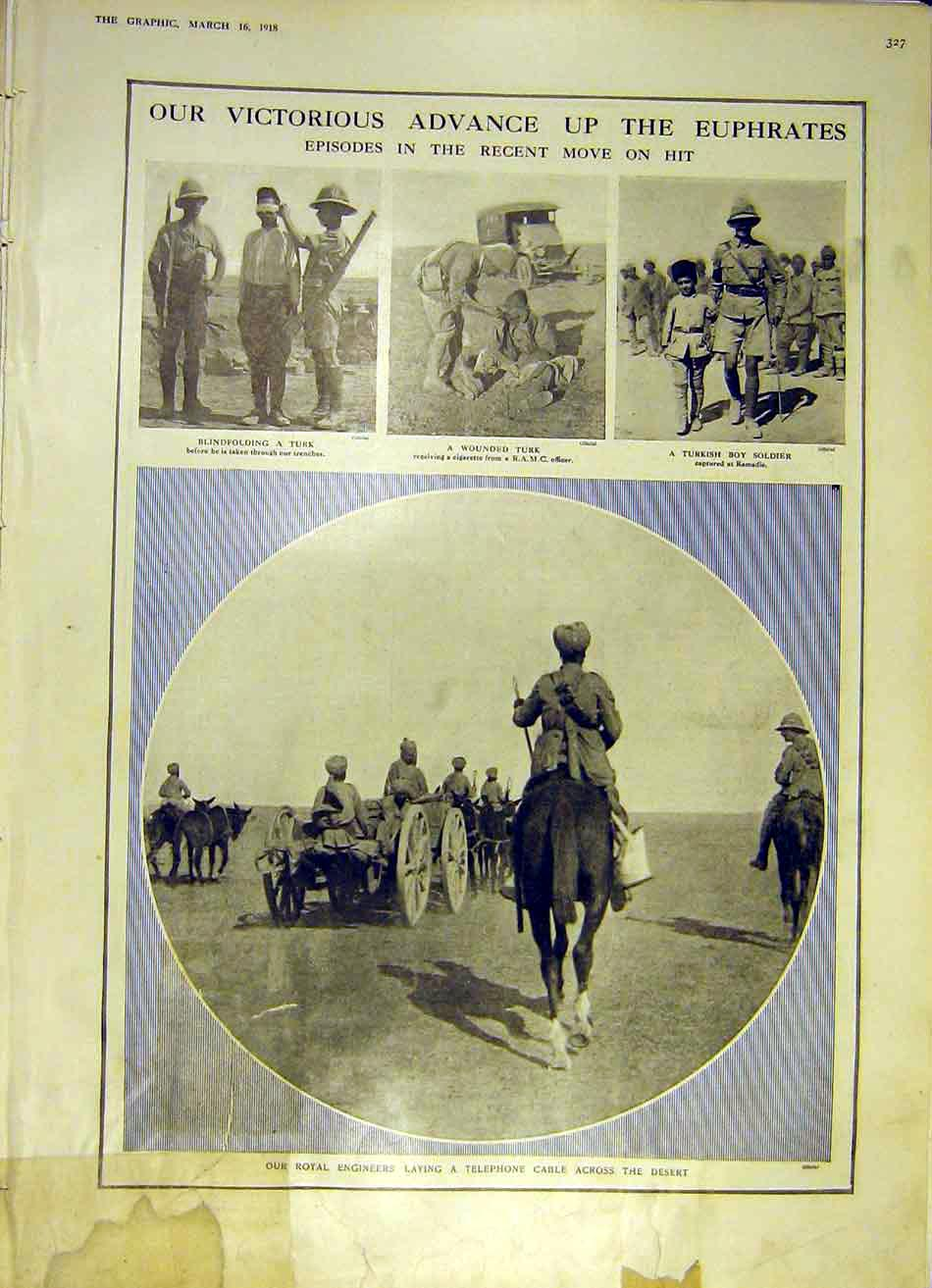 Print Victory Advance Euphrates Royal Engineer Ww1 1918 27Ddd0 Old Original
