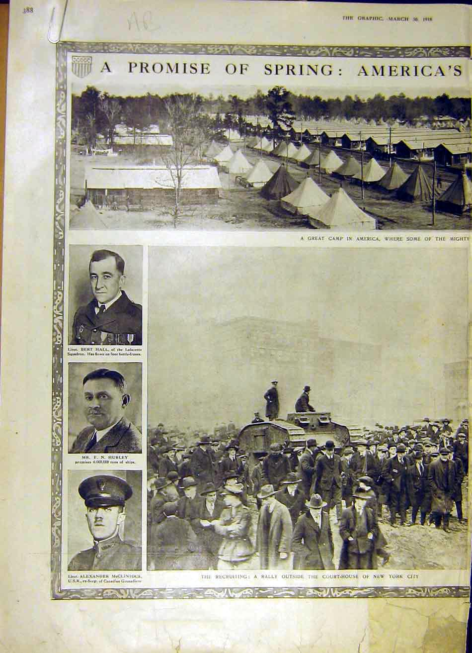 Print America Army Camp New York Officer Baker Grow Ww1 1918 88Addd0 Old Original