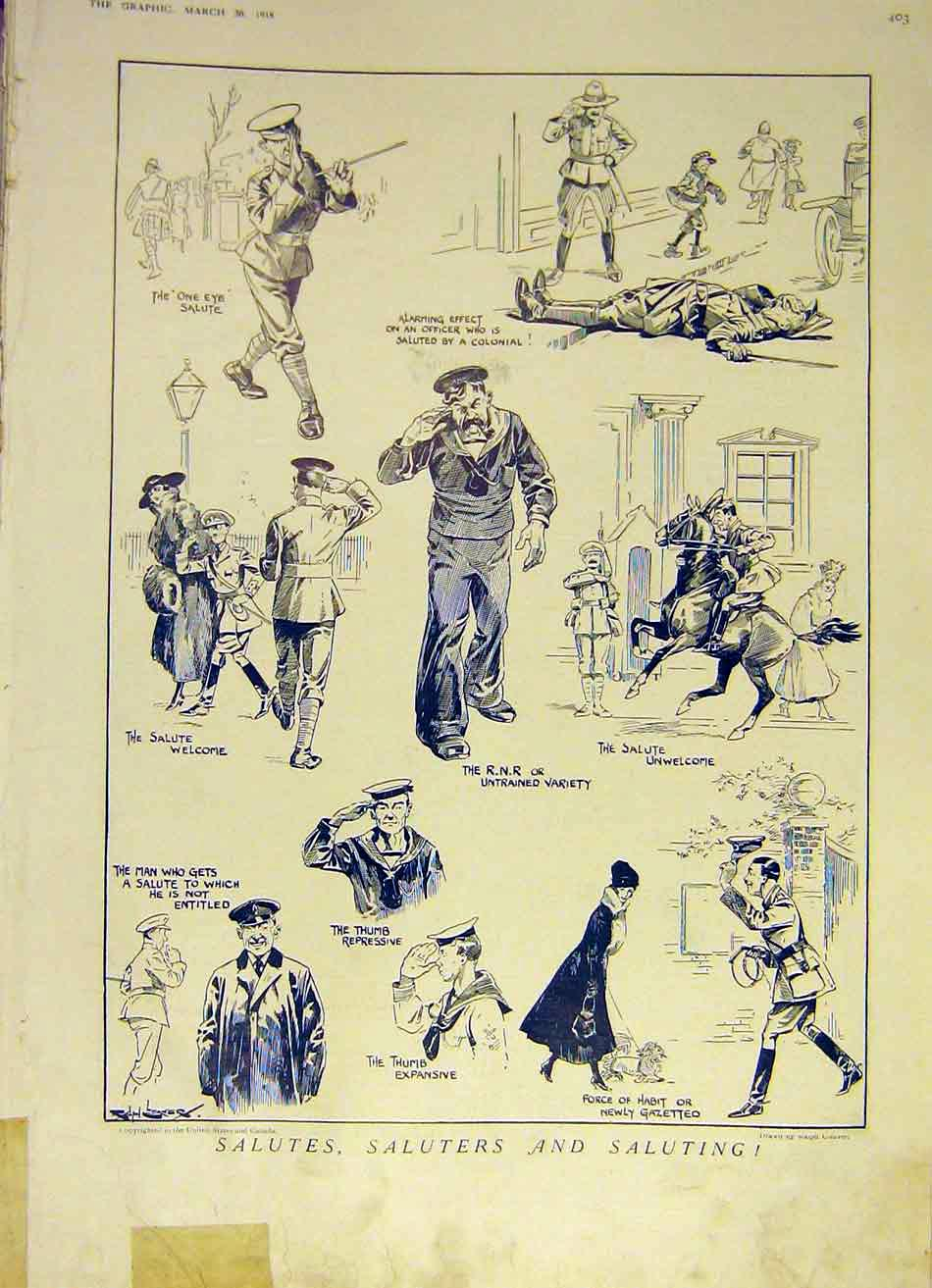 Print Salute Saluting Officers Soldiers Sketches Cleaver 1918 03Ddd0 Old Original
