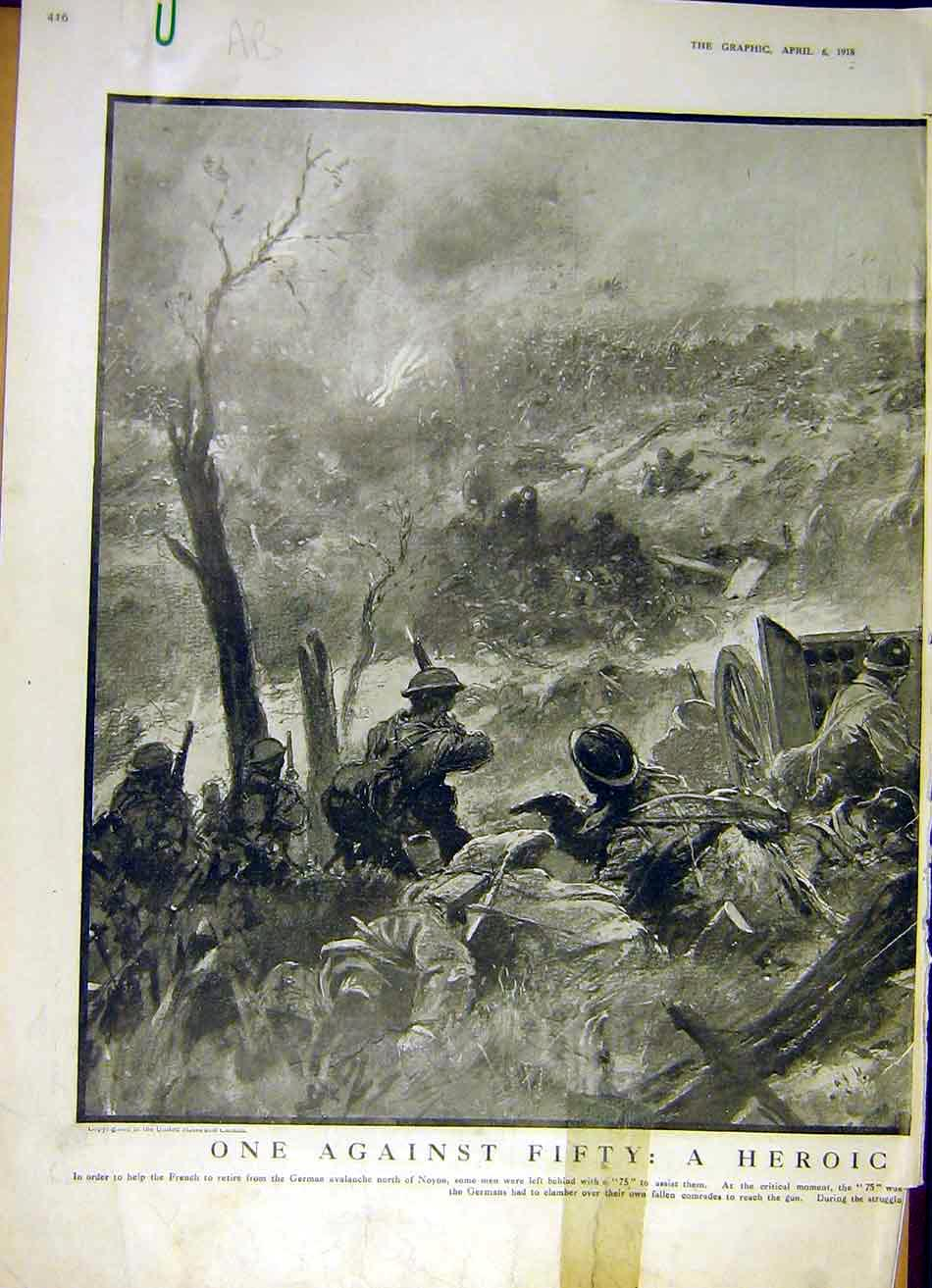 Print Battle Noyon French German Troops Soldiers Ww1 1918 16Addd0 Old Original