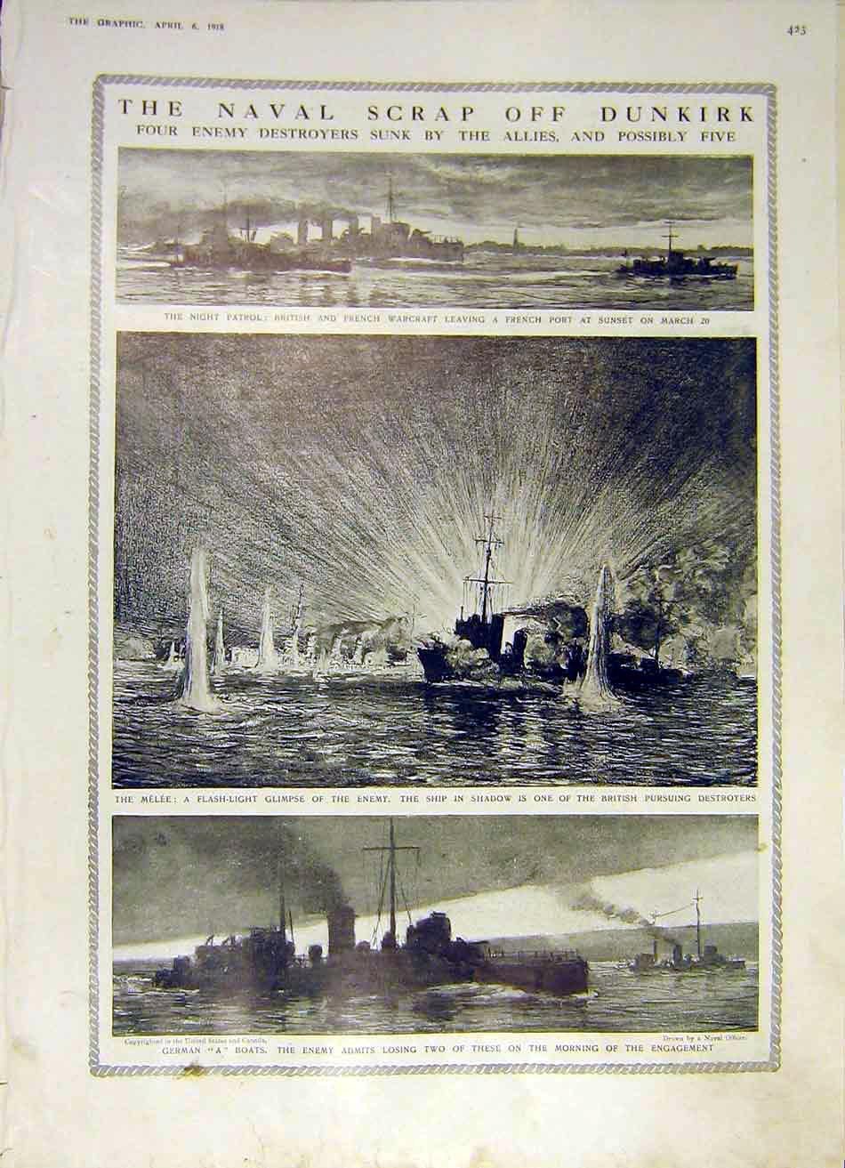 Print Naval Scrap Dunkirk Battle Ship Wreck Boats Melee 1918 23Ddd0 Old Original