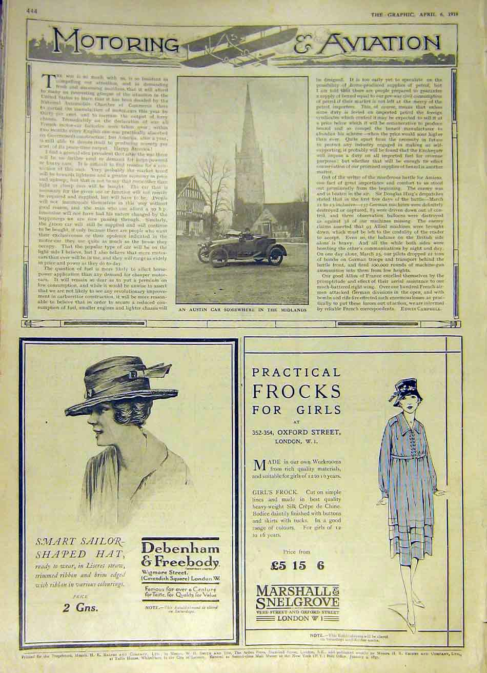 Print Austin Car Midlands Debenham Marshall Fashion 1918 44Ddd0 Old Original