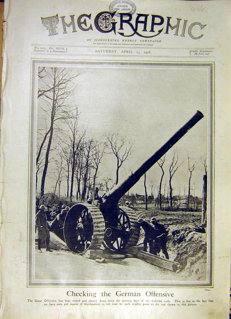 Print German Offensive British Guns Soldier War Ww1 1918 46Ddd0 Old Original