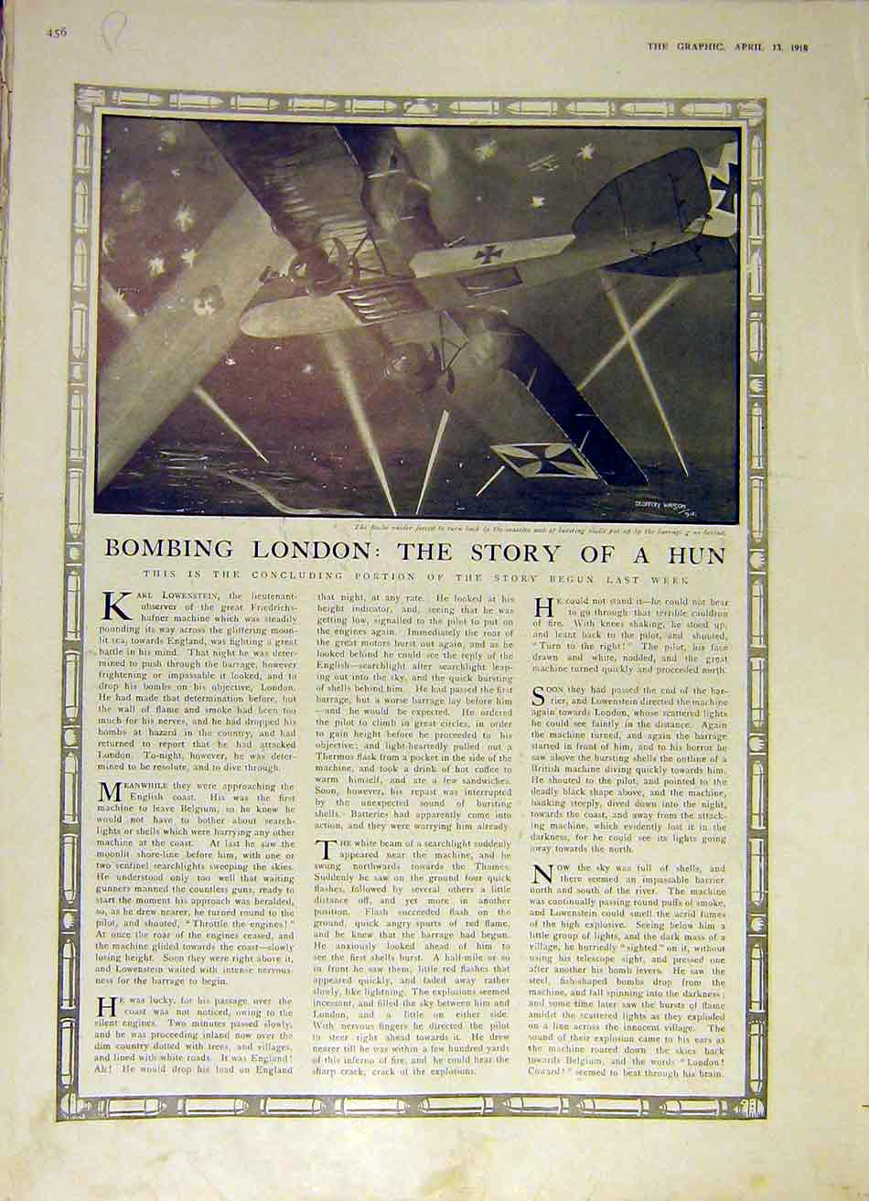 Print Bombing London Story Hun France Summoned Colours Ww1 56Rddd0 Old Original