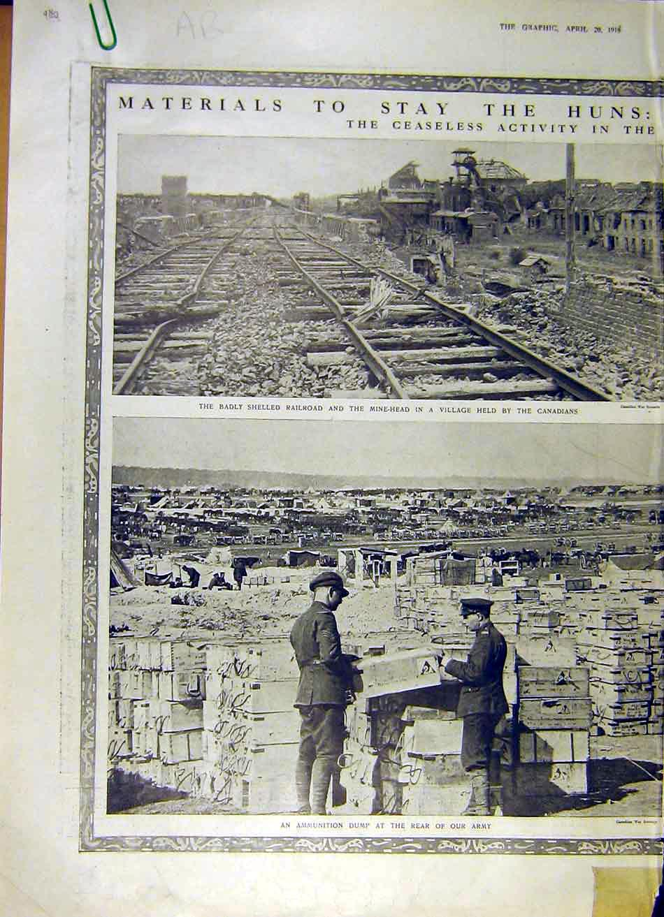 Print Railway Canadian Ammunition Dump Train Transport Ww1 80Addd0 Old Original