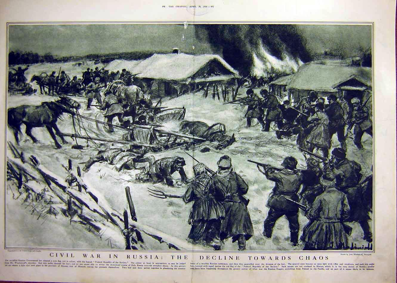 Print Civil War Russia Riazan Wladimiroff Ww1 1918 Battle 89Tddd0 Old Original
