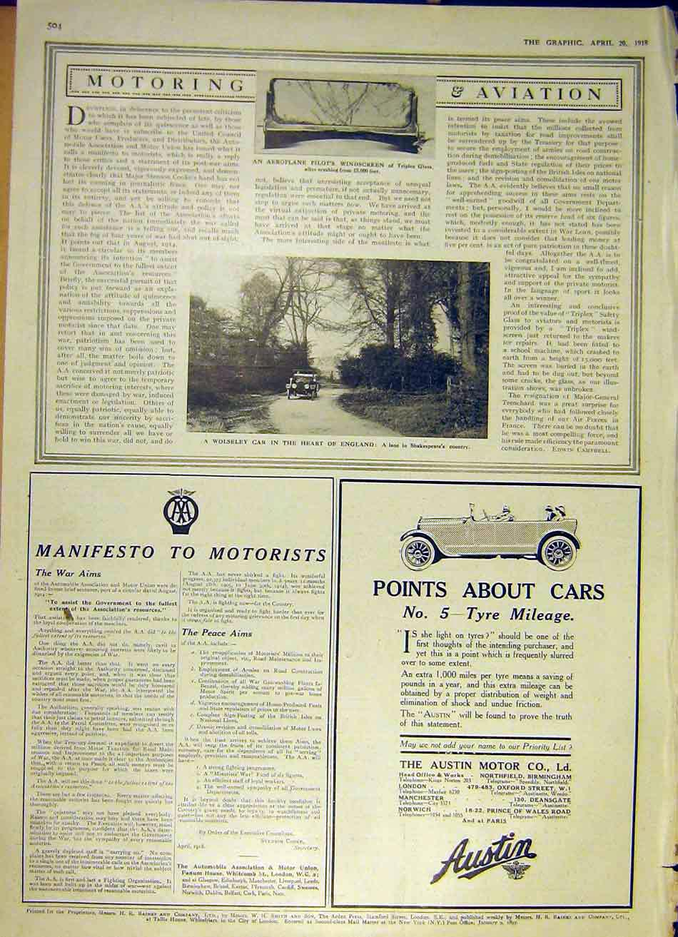 Print Triplex Glass Aeroplane Wolseley Car Ww1 1918 Austin 04Ddd0 Old Original