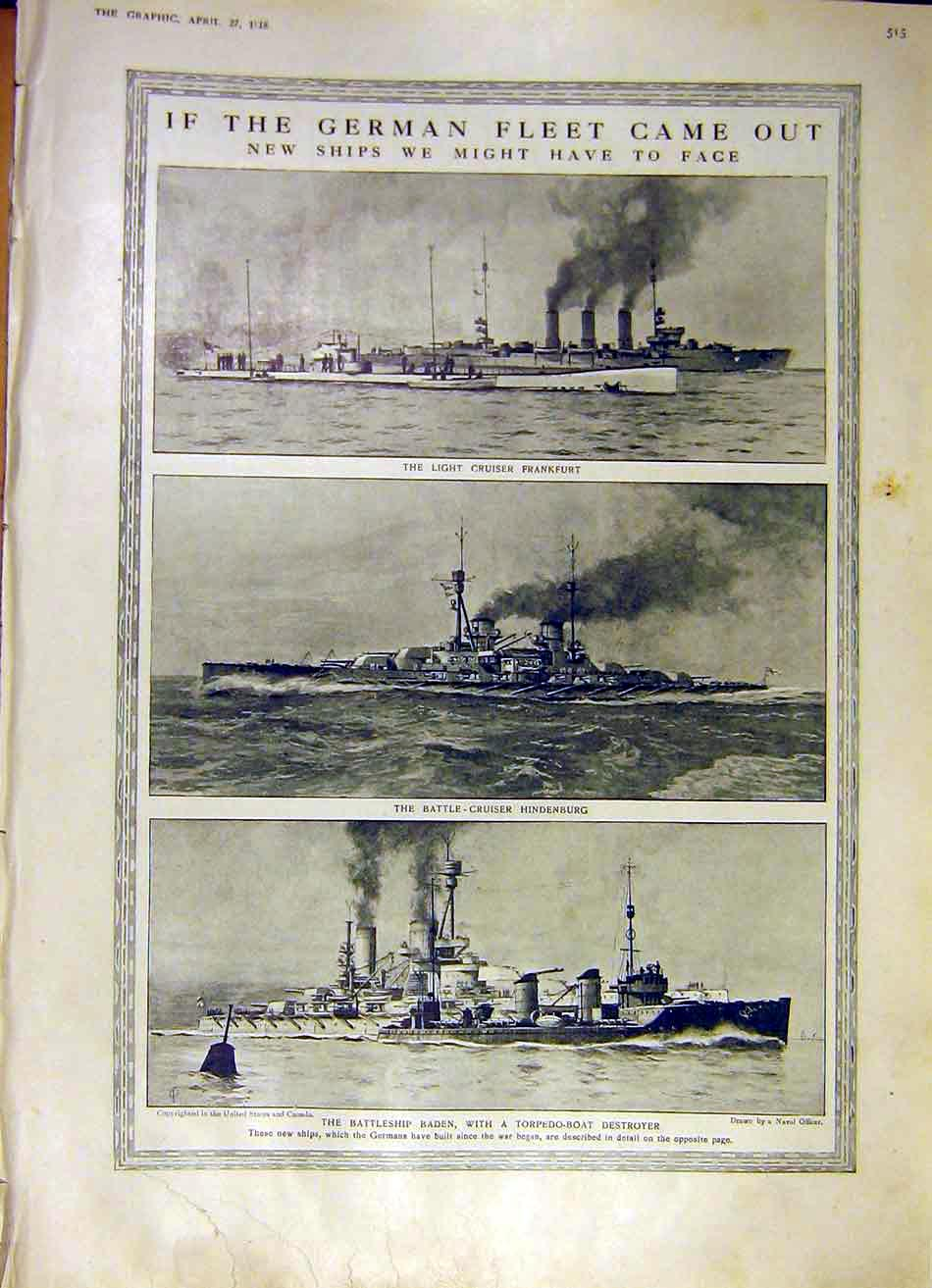 Print German Fleet New Ships Frankfurt Hindenburg Ww1 1918 15Ddd0 Old Original