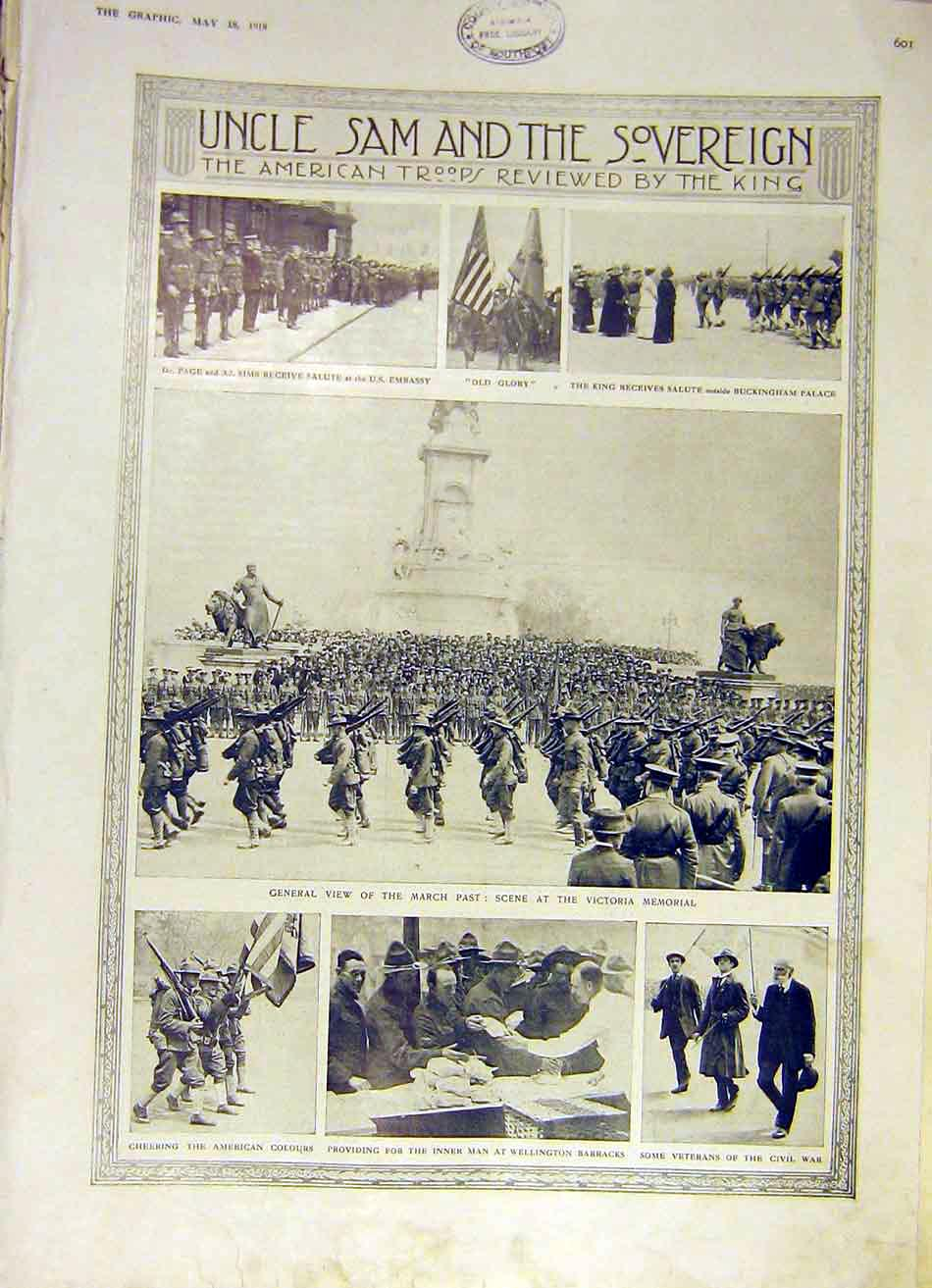Print American Troops March Past Victoria Memorial Ww1 1918 01Ddd0 Old Original