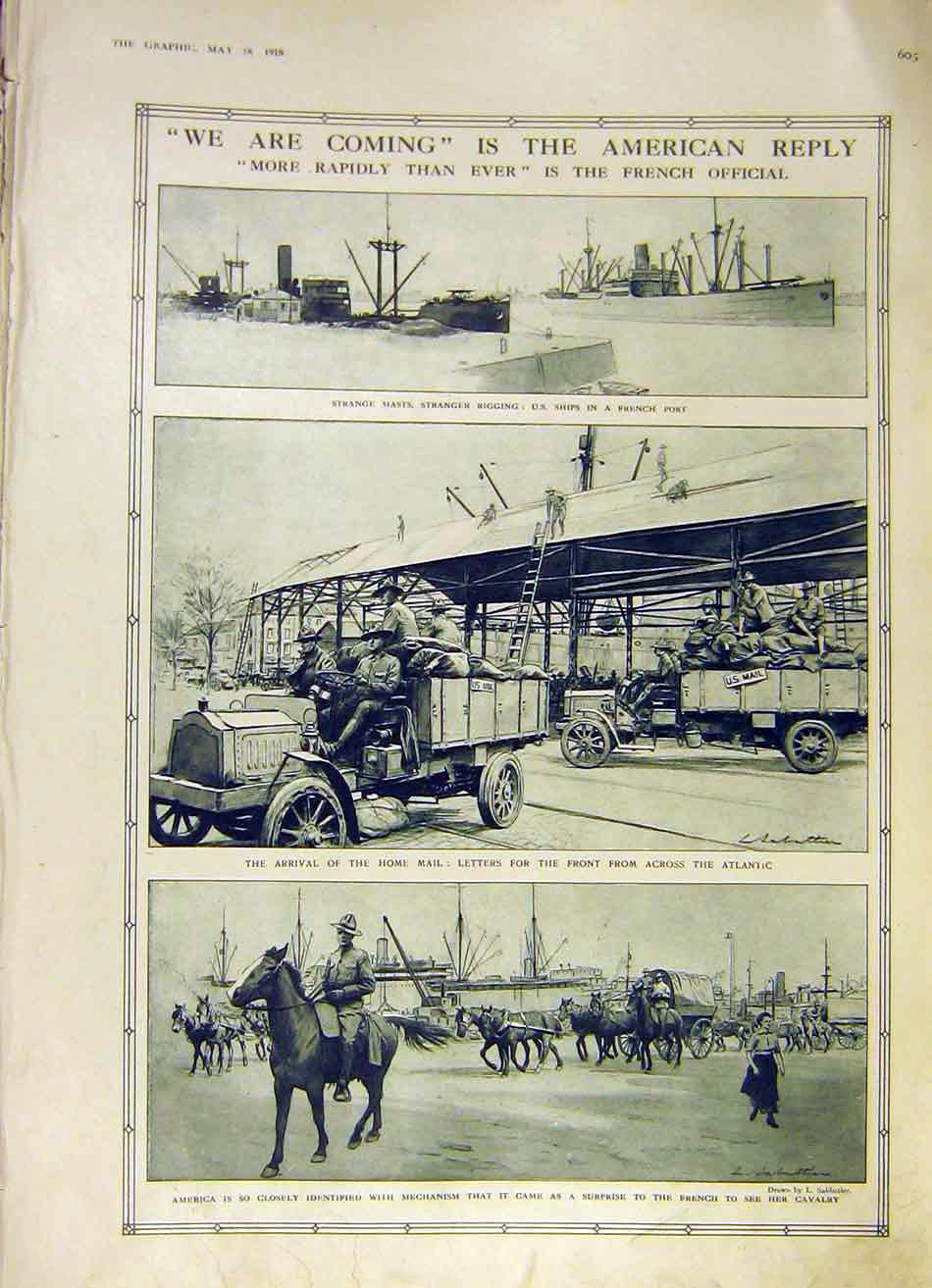 Print America Is Coming To War Allies Cavalry Ships Ww1 1918 03Ddd0 Old Original