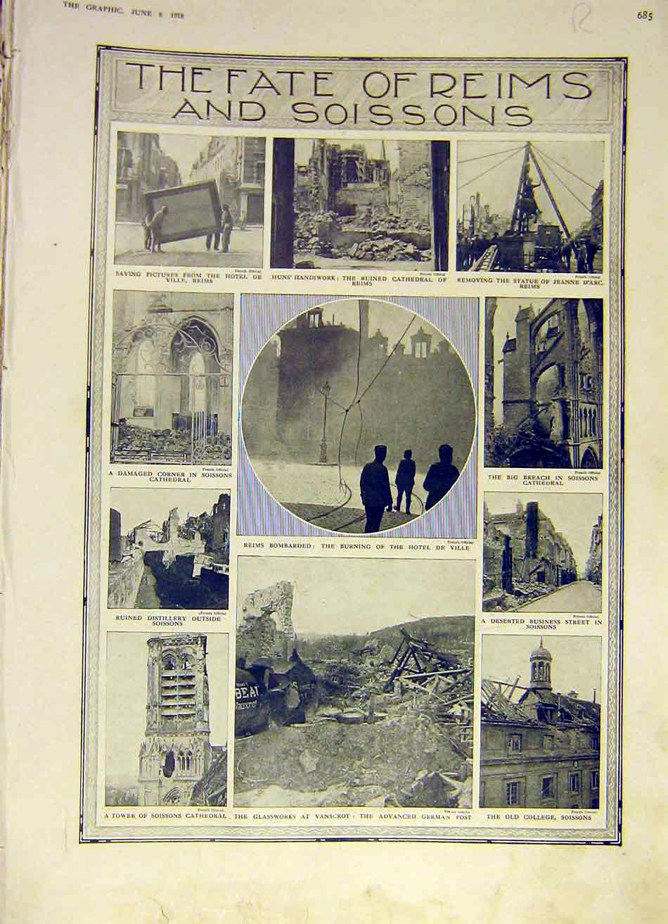 Print Fate Reims Soissons Ruins Battle Italy Alps Guns Ww1 85Rddd0 Old Original