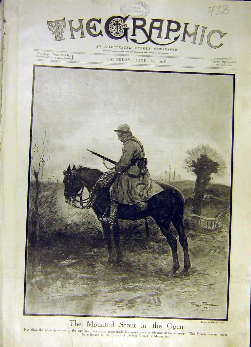 Print Mounted Scout Soldier Horse Rifle Infantry Ww1 1918 38Ddd0 Old Original
