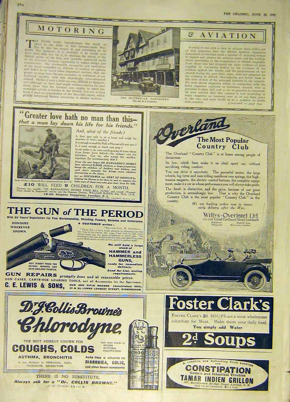 Print Crosseley Car Dartmouth Butterwalk Adverts 1918 62Ddd0 Old Original