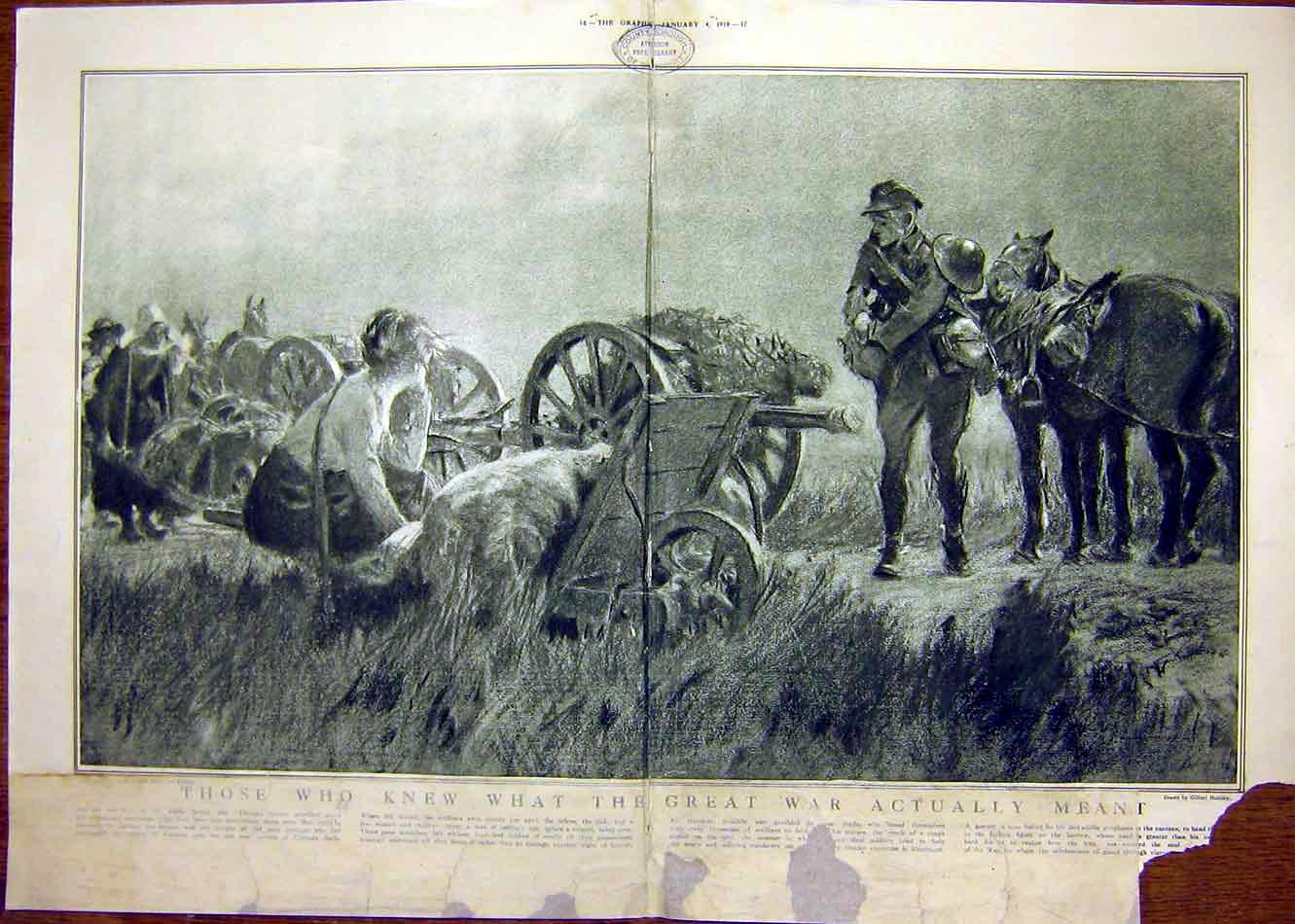 [Print War Holiday Ww1 Gunner Soldier Wounded German 1919 15Tddd0 Old Original]