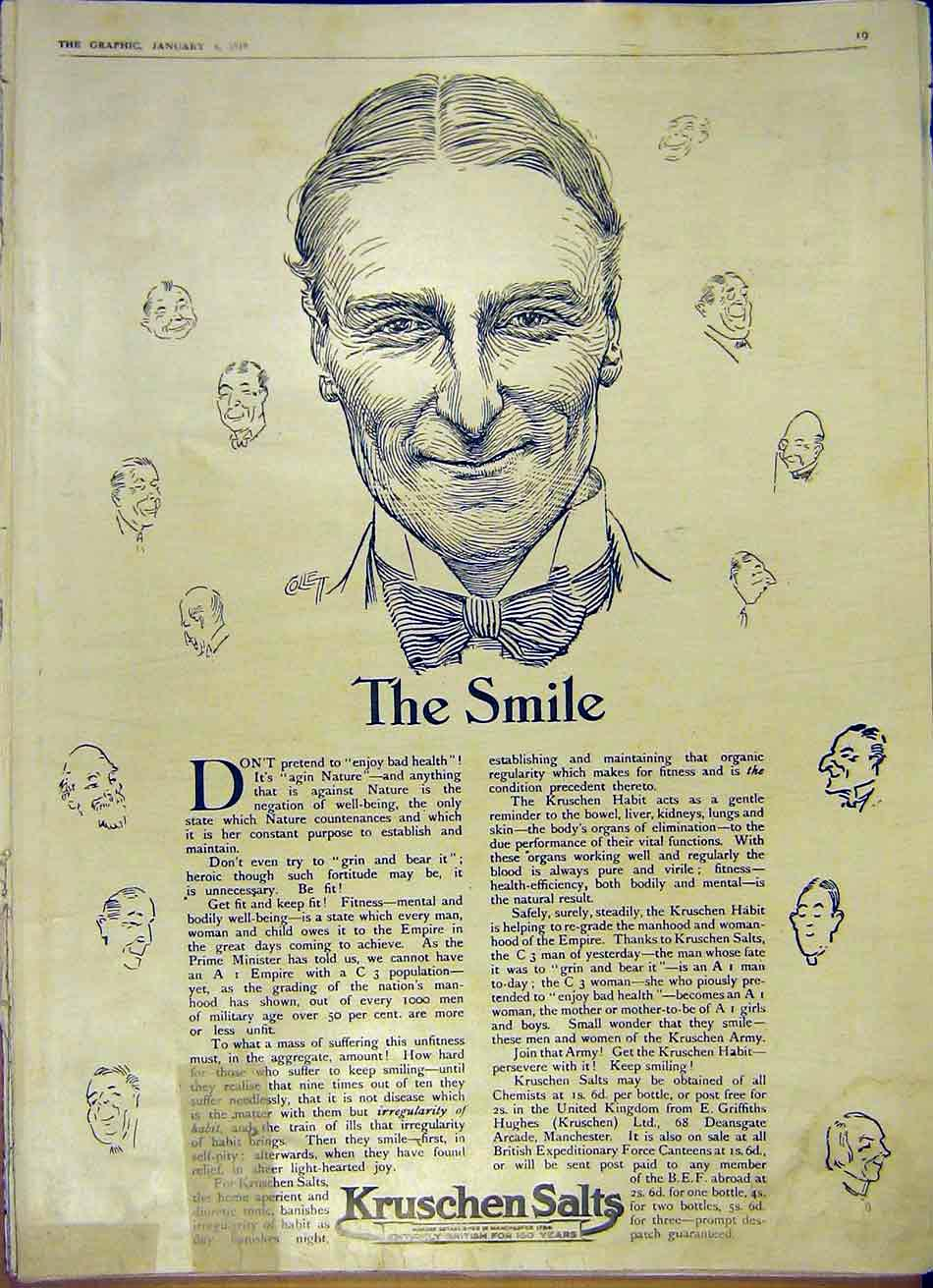 Print Smile Kruschen Salts Medical Advert 1919 19Ddd0 Old Original