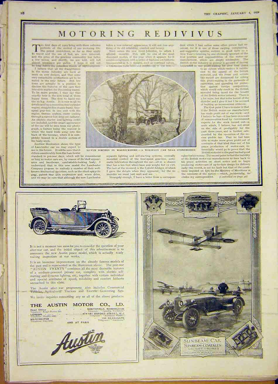 [Print Wolseley Car Austin Sunbeam Aircraft Engine 1919 28Ddd0 Old Original]
