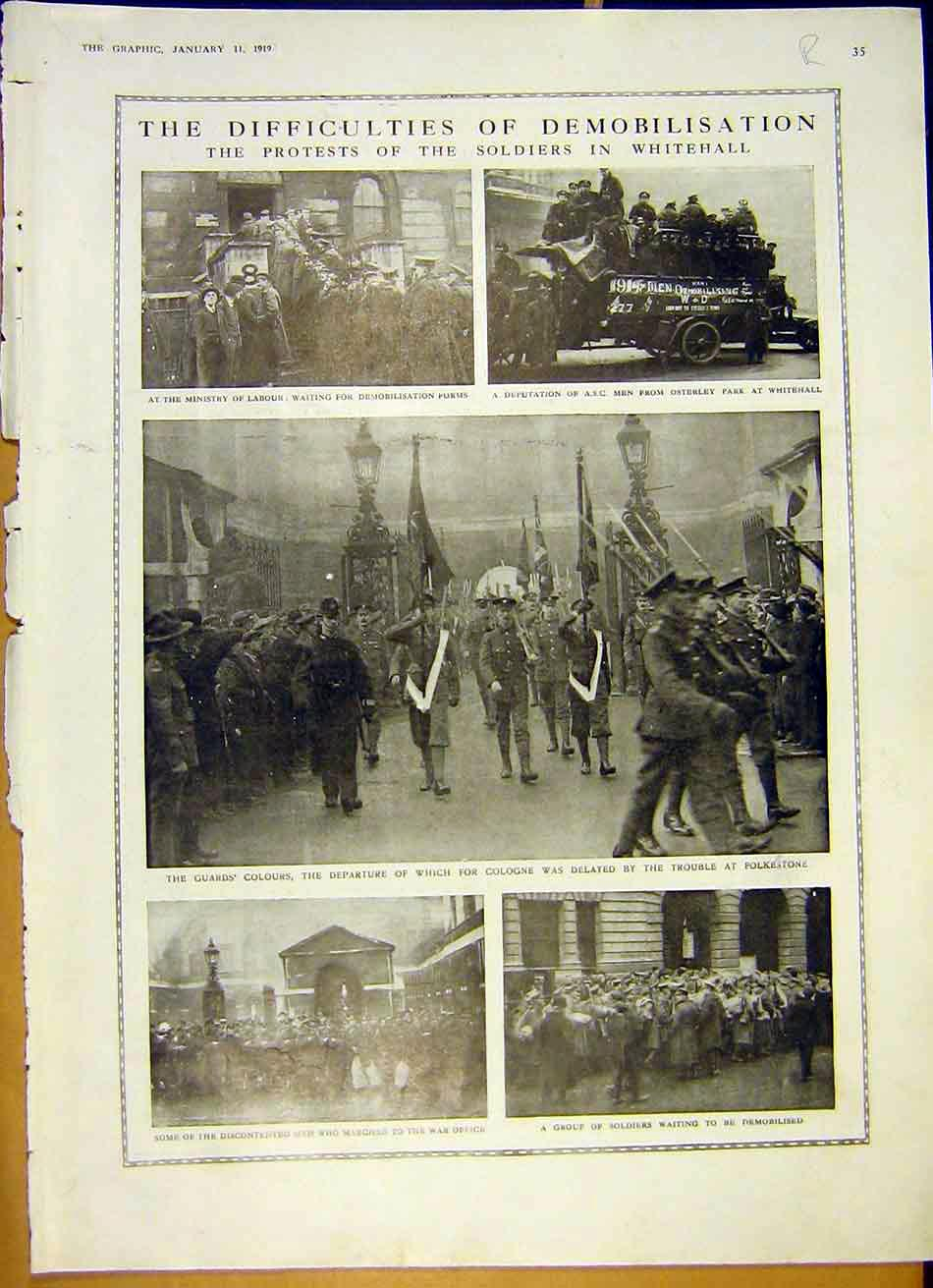 [Print Soldiers Protest Whitehall Kaiser German War 1919 35Rddd0 Old Original]