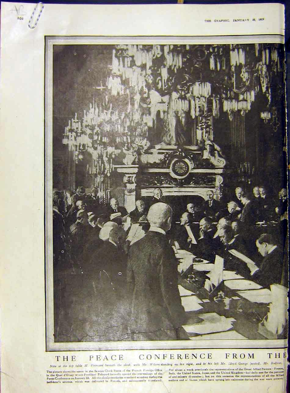 Print Peace Conference Wilson Poincare George Balfour 1919 02Addd0 Old Original