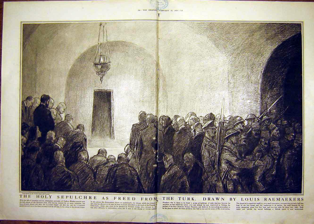 Print Holy Sepulchre Turkish Troops Raemaekers Tomb 1919 15Tddd0 Old Original
