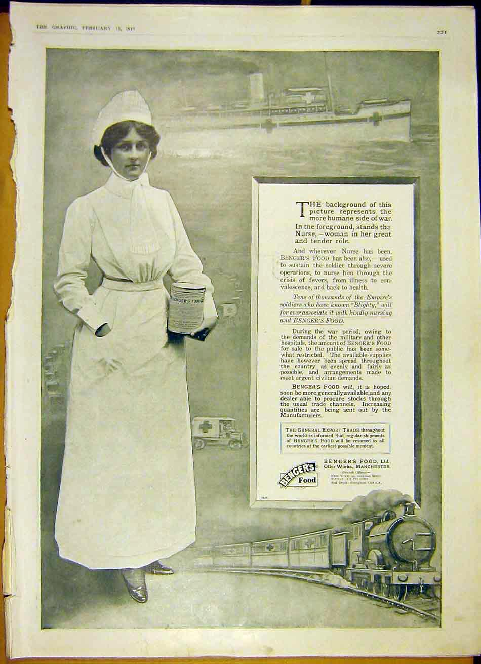 Print Benger'S Food Advert Nurse Railway Ship 1919 21Ddd0 Old Original