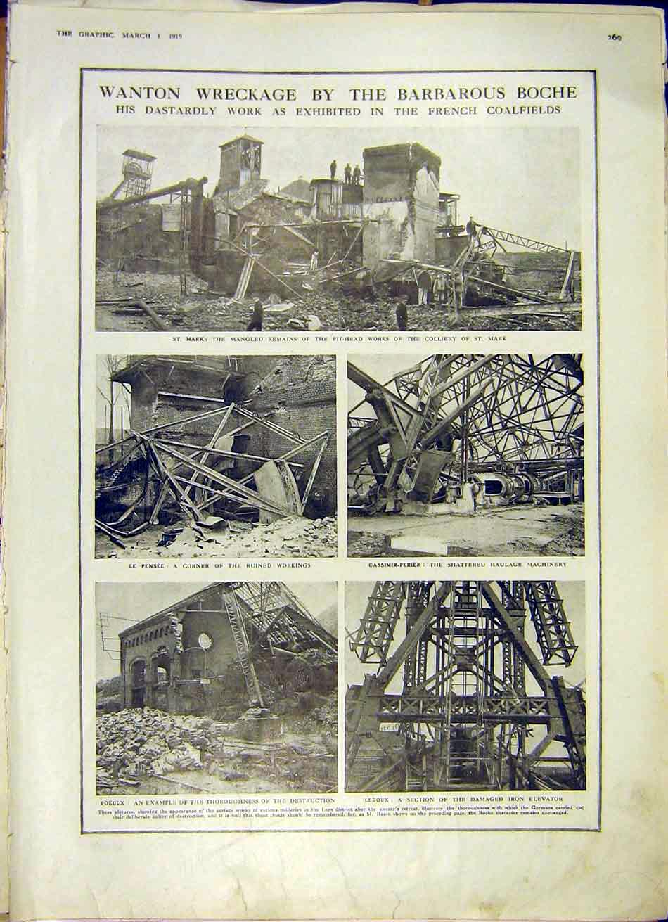 Print Boche French Coalfields Colliery Damage Ww1 1919 69Ddd0 Old Original