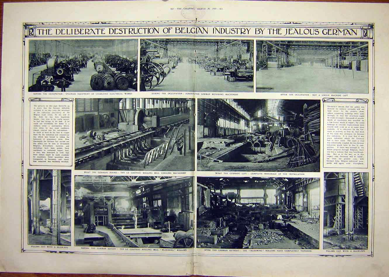 Print Belgian Industry German Destruction Ww1 Charleroi 1919 11Tddd0 Old Original