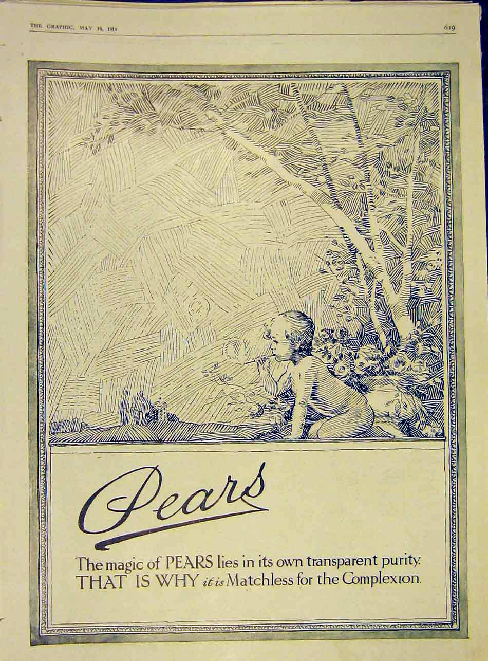 Print Baby Advert Pears Complexion Transparent Soap 1919 19Ddd0 Old Original
