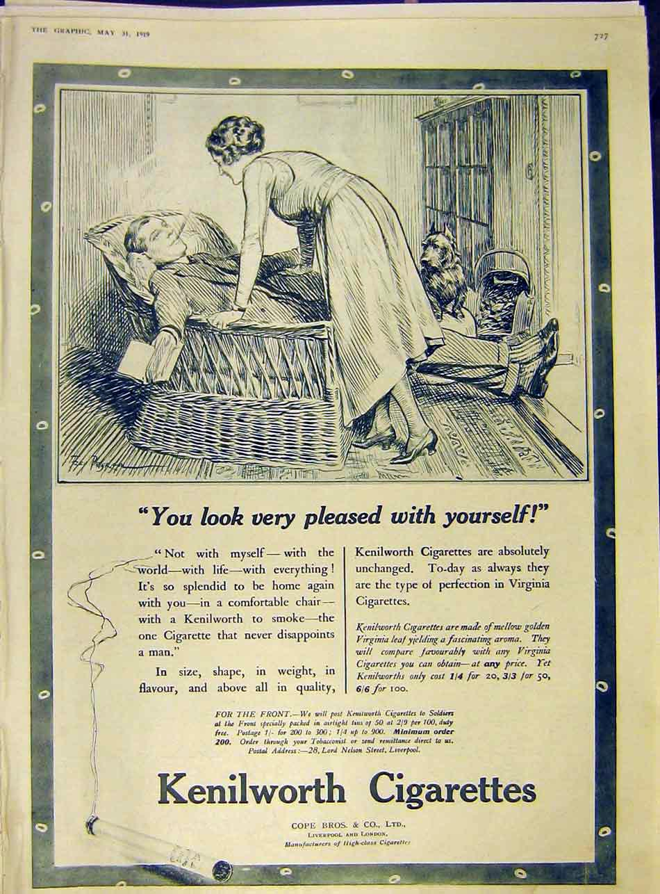 Print Kenilworth Cigarette Advert Cope Bros 1919 27Ddd0 Old Original
