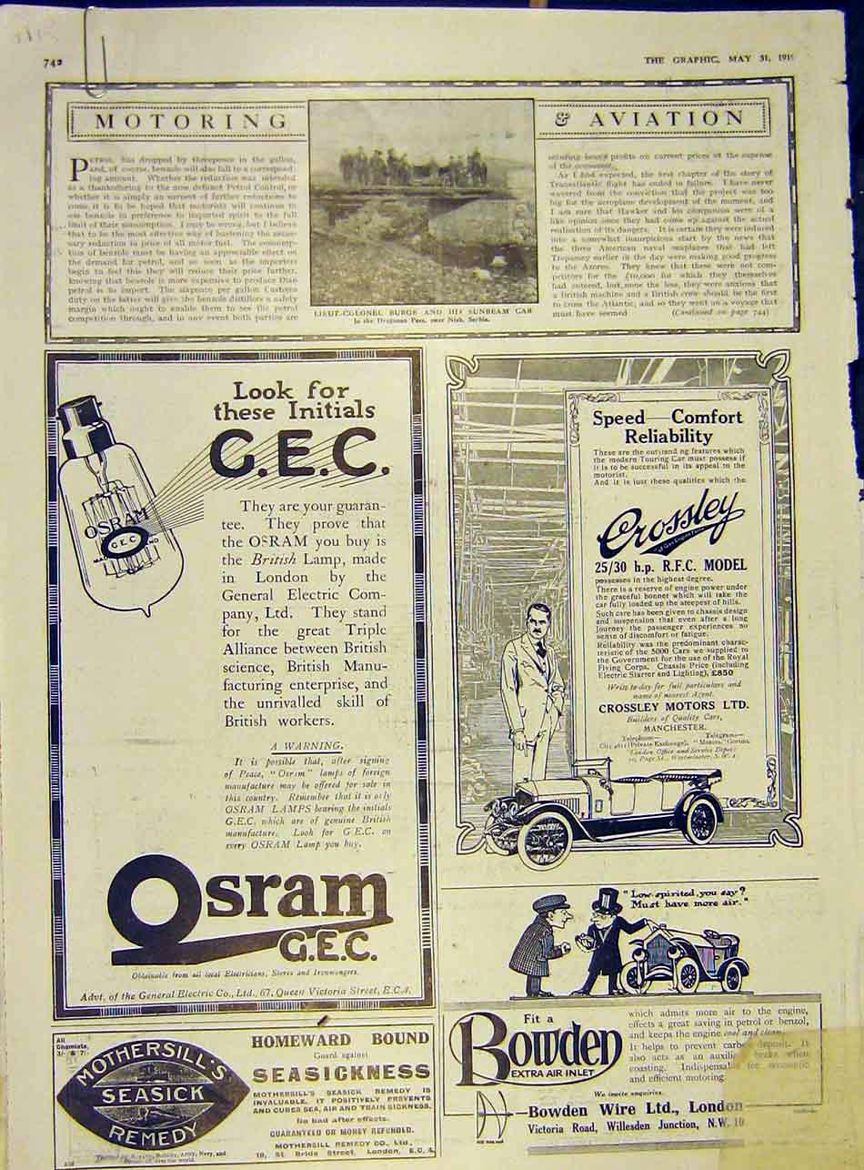 Print Sunbeam Motor-Car Burge Rolls-Royce 1919 42Addd0 Old Original