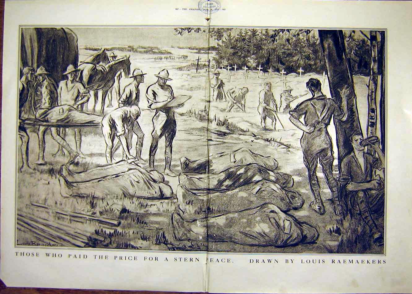 Print Raemaekers Peace Casualties Troops Ww1 1919 01Tddd0 Old Original