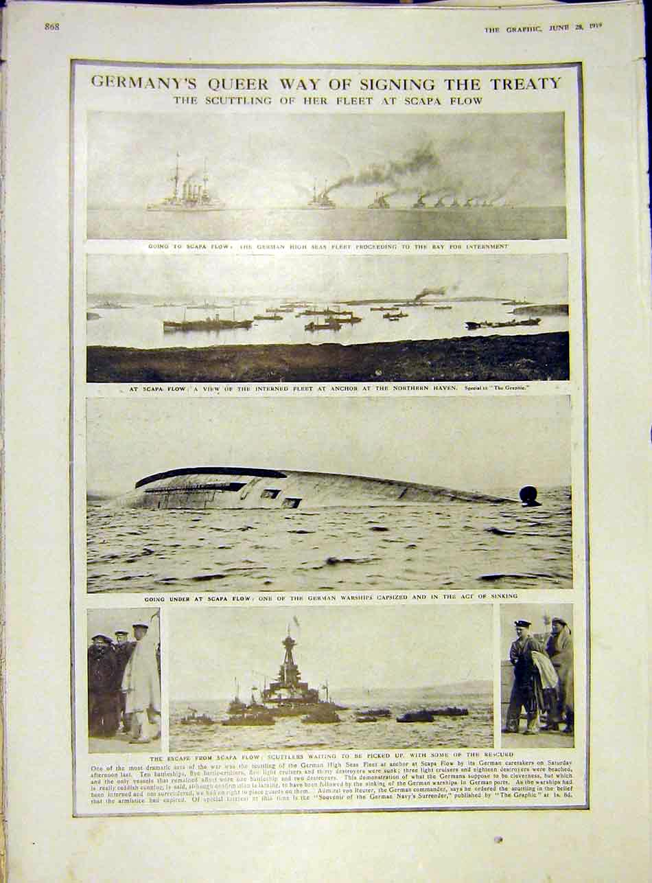 Print Scpa-Flow Germany Fleet Warship Scuttlers Ww1 1919 68Ddd0 Old Original