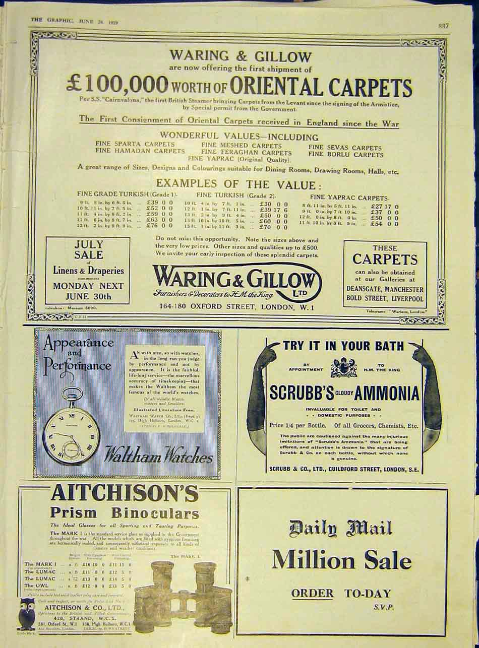 Print Waring Gillow Carpets Aitchison'S Waltham Daily Mail 87Ddd0 Old Original