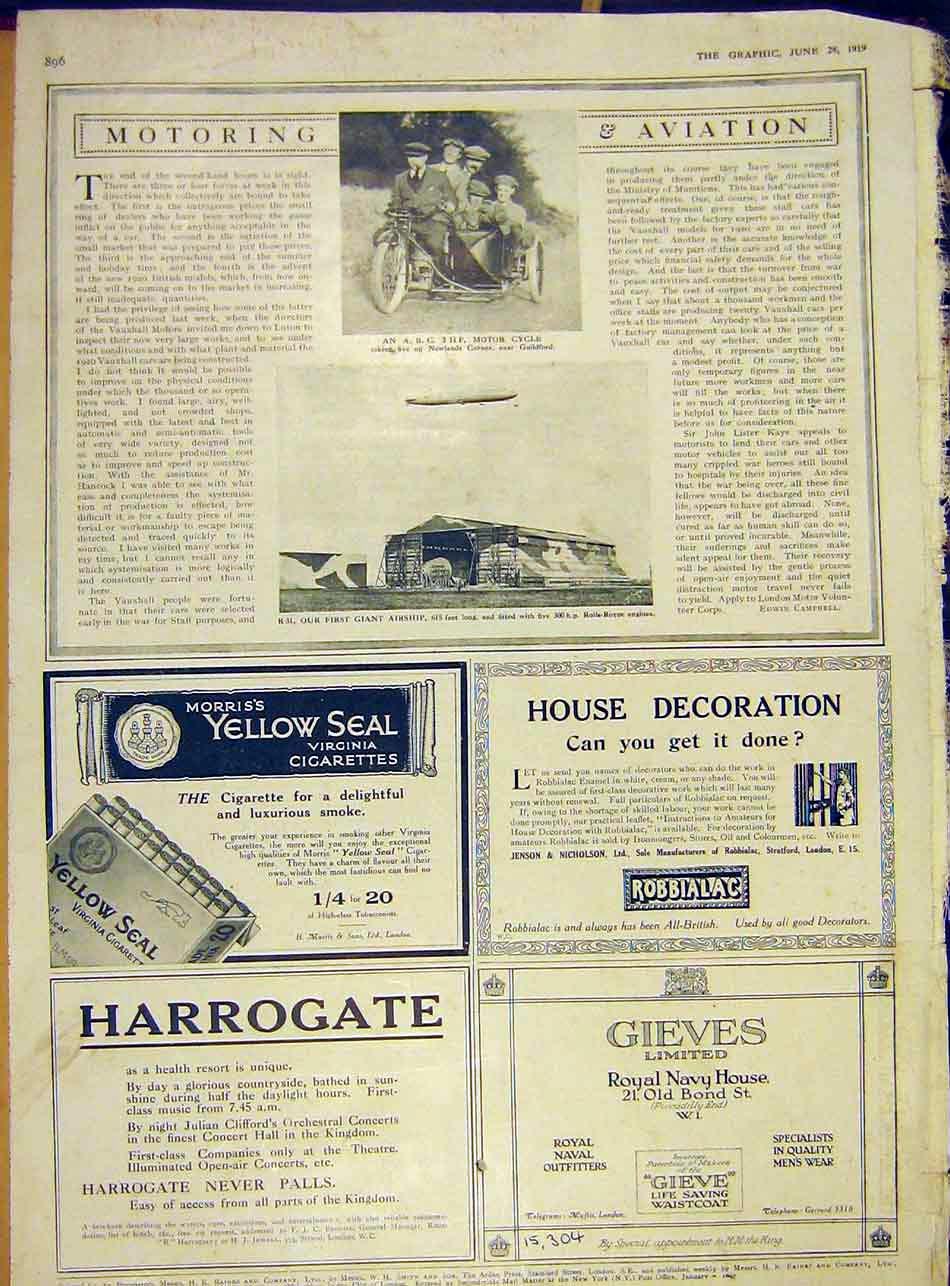Print Motor Cycle Guildford Airship Rolls-Royce Engine 1919 96Ddd0 Old Original