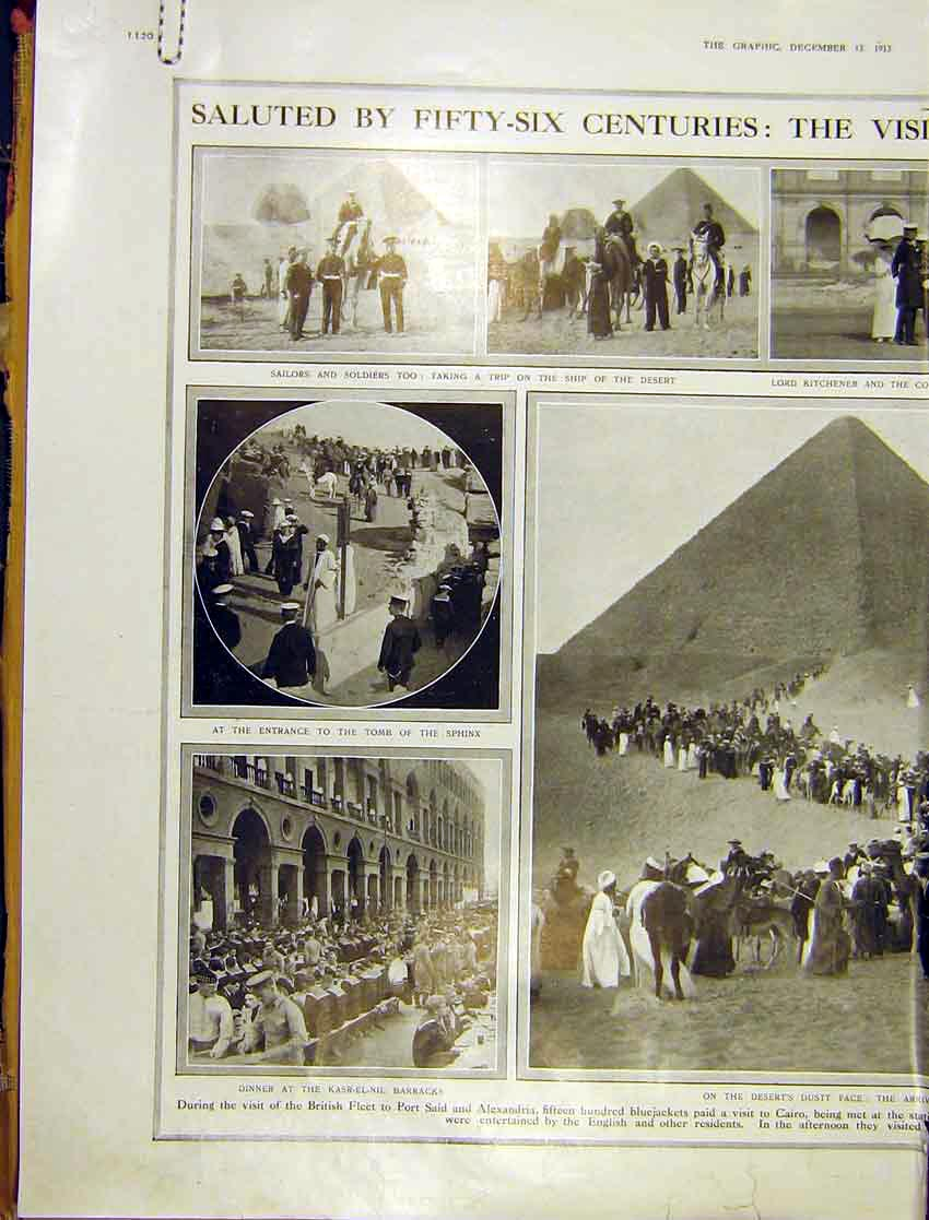 Print British Blackjackets Pyramid Egypt Highlanders 1913 20Addd1 Old Original