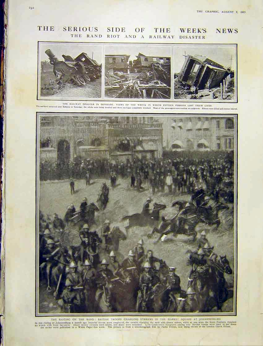 Print Rand Riot Railway Disaster Denmark Strikers Square 1913 92Ddd1 Old Original