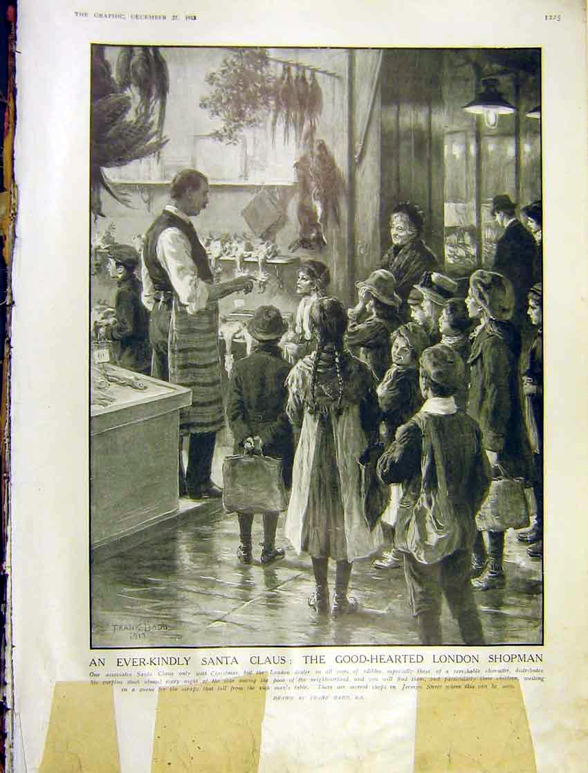 Print Santa Claus London Shp Children Surplus Poor Gifts 1913 25Ddd1 Old Original