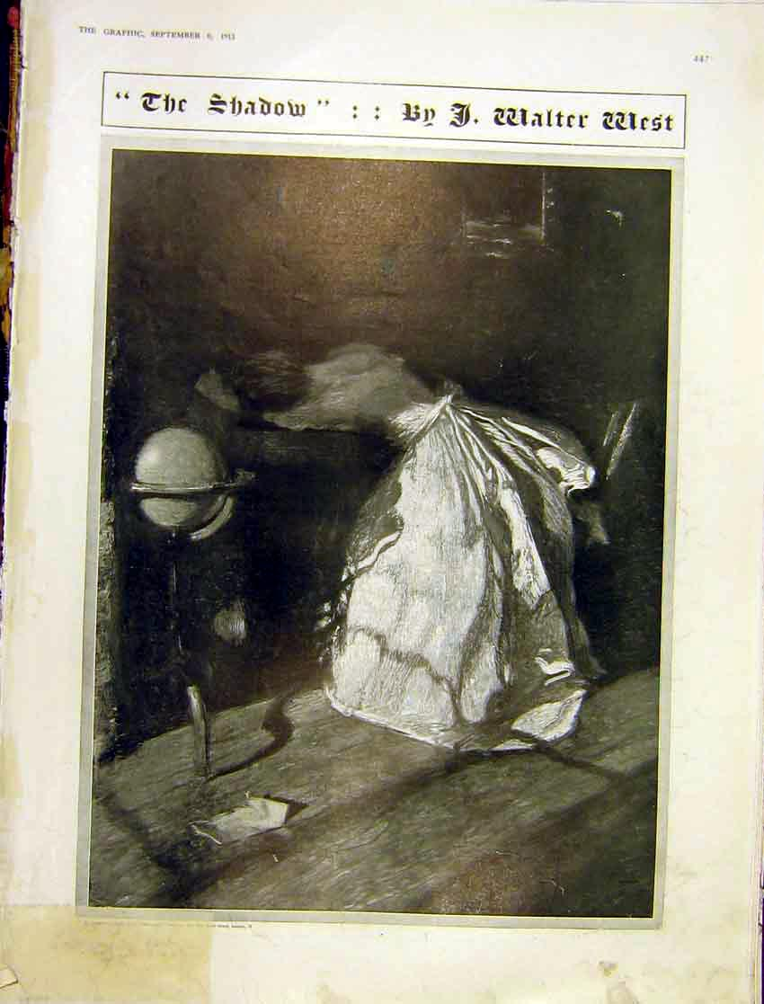 Print Shadow Walter West Painting Lady Dress Daylight 1913 47Ddd1 Old Original