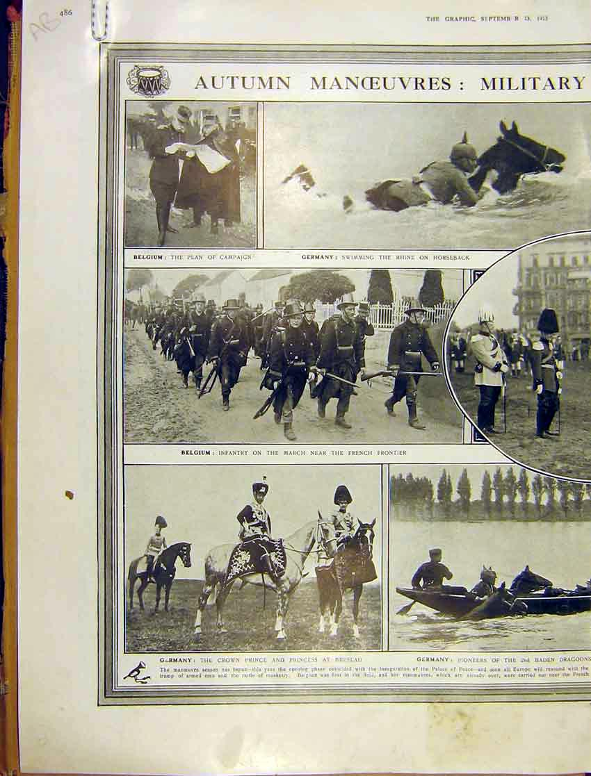 Print Autumn Manouvres Military Activity Home Abroad 1913 86Addd1 Old Original