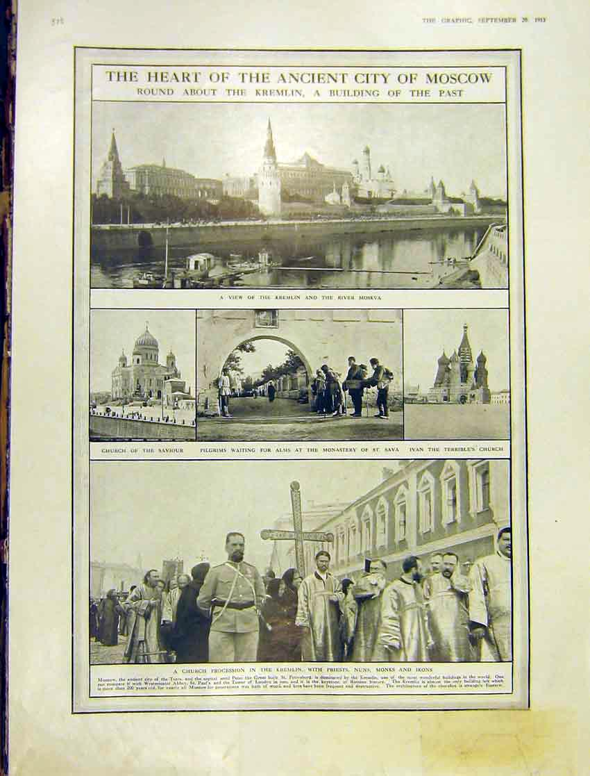Print Ancient City Mosco Russia Kremlin River Moskva 1913 28Ddd1 Old Original