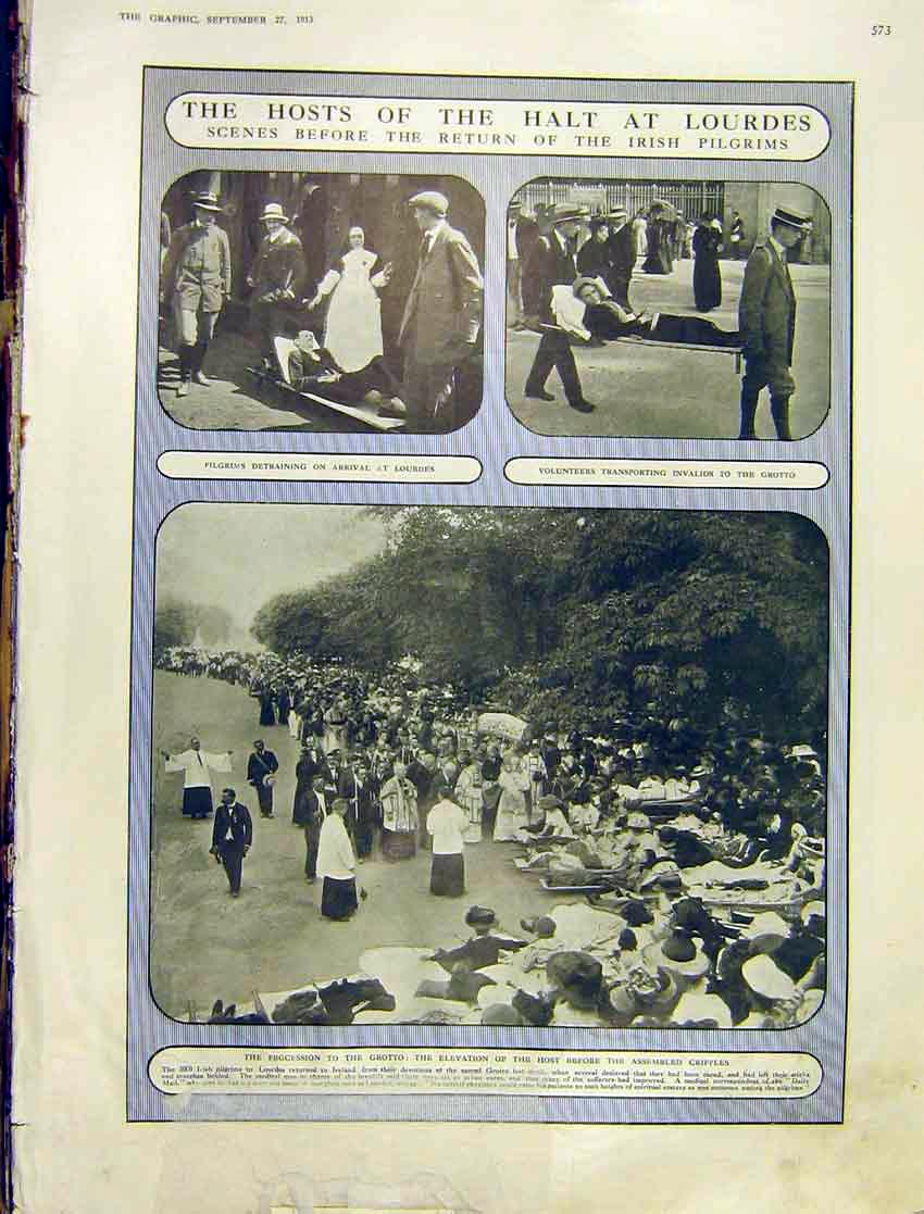 Print Host Halt Lourdes Irish Pilgrims Grotto Procession 1913 73Ddd1 Old Original