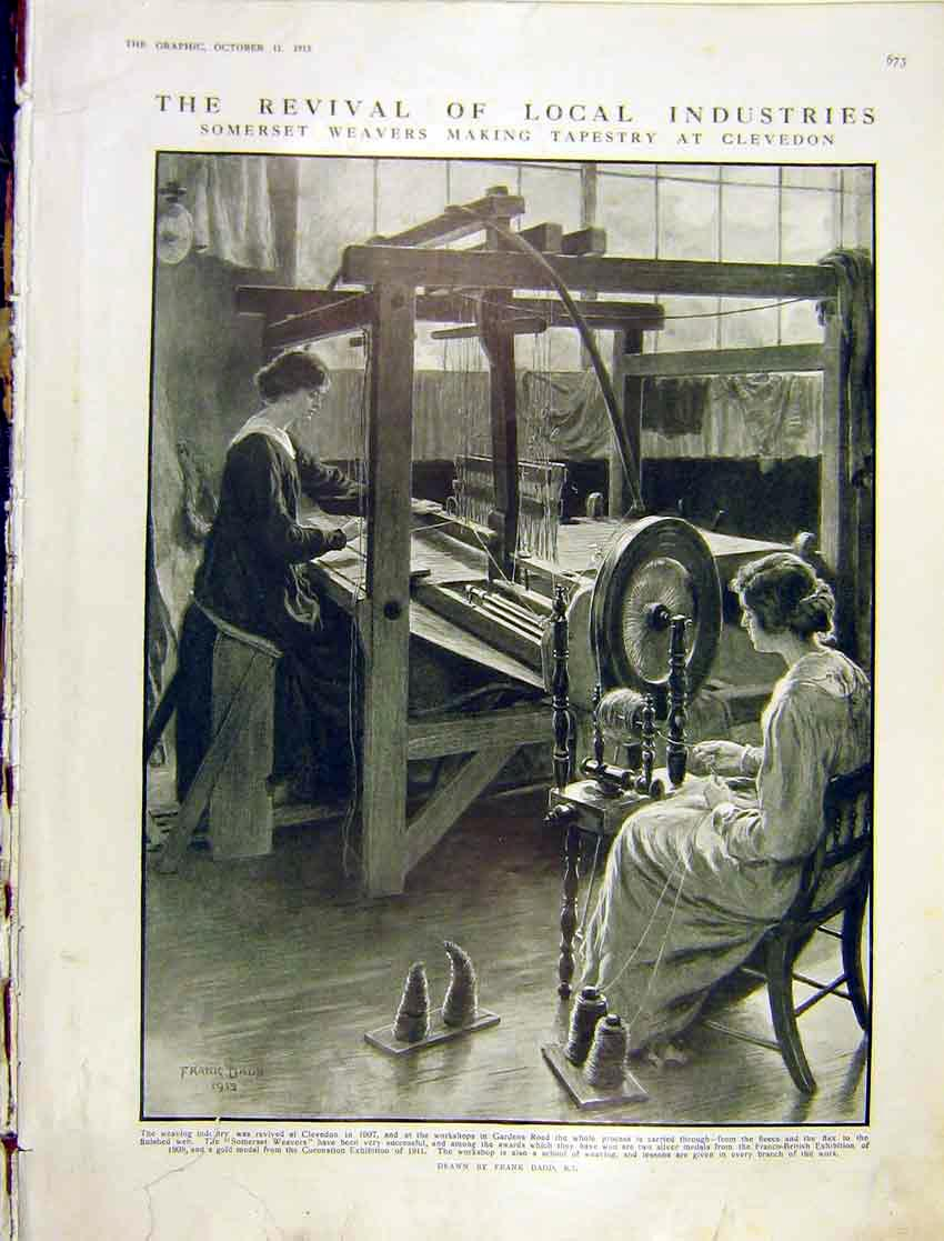 [Print Industry Somerset Weaver Tapestry Clevedon 1913 73Ddd1 Old Original]