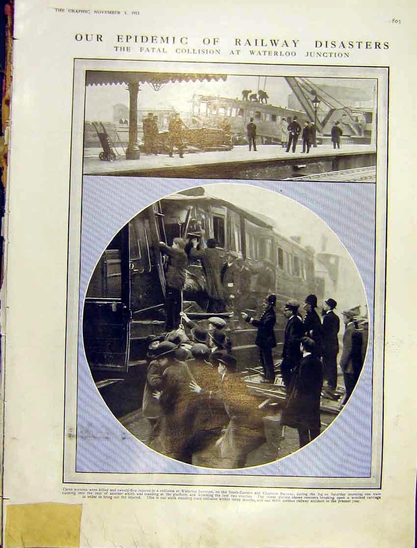 Print Railway Disaster Collision Waterloo Train Wreck 1913 03Ddd1 Old Original