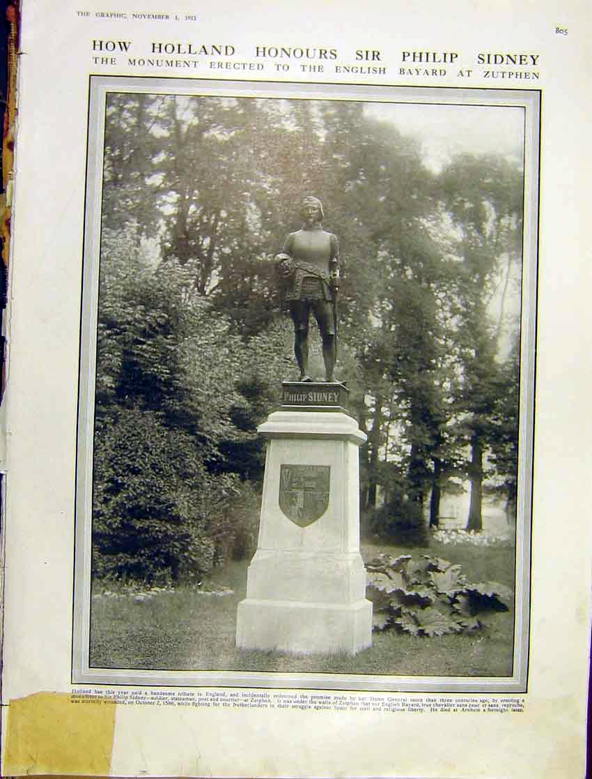 [Print Holland Monument Hero Sir Philip Sidney Zutphen 1913 05Ddd1 Old Original]
