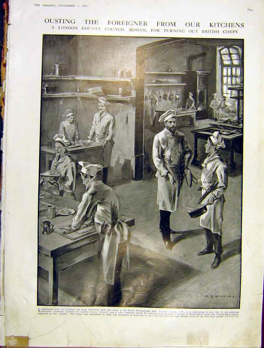[Print London Council Chef School British Kitchen 1913 09Ddd1 Old Original]