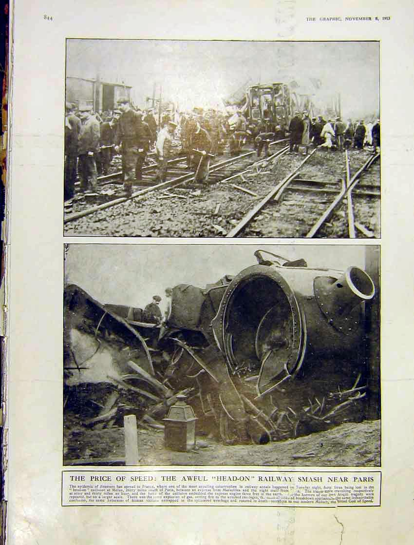 [Print Head-On Railway Smash Paris Train Melun Wreckage 1913 44Ddd1 Old Original]