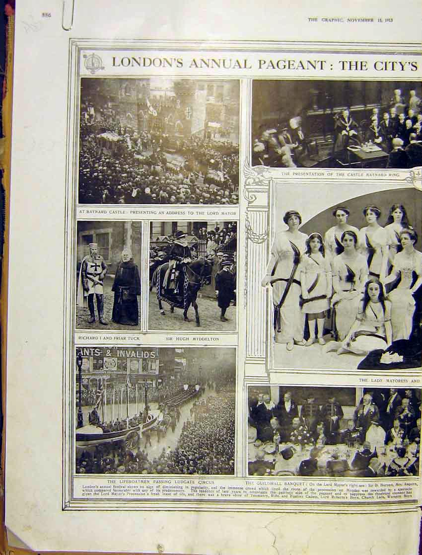 Print London Pageant Mayor Chamberlain Maids Kings 1913 86Addd1 Old Original