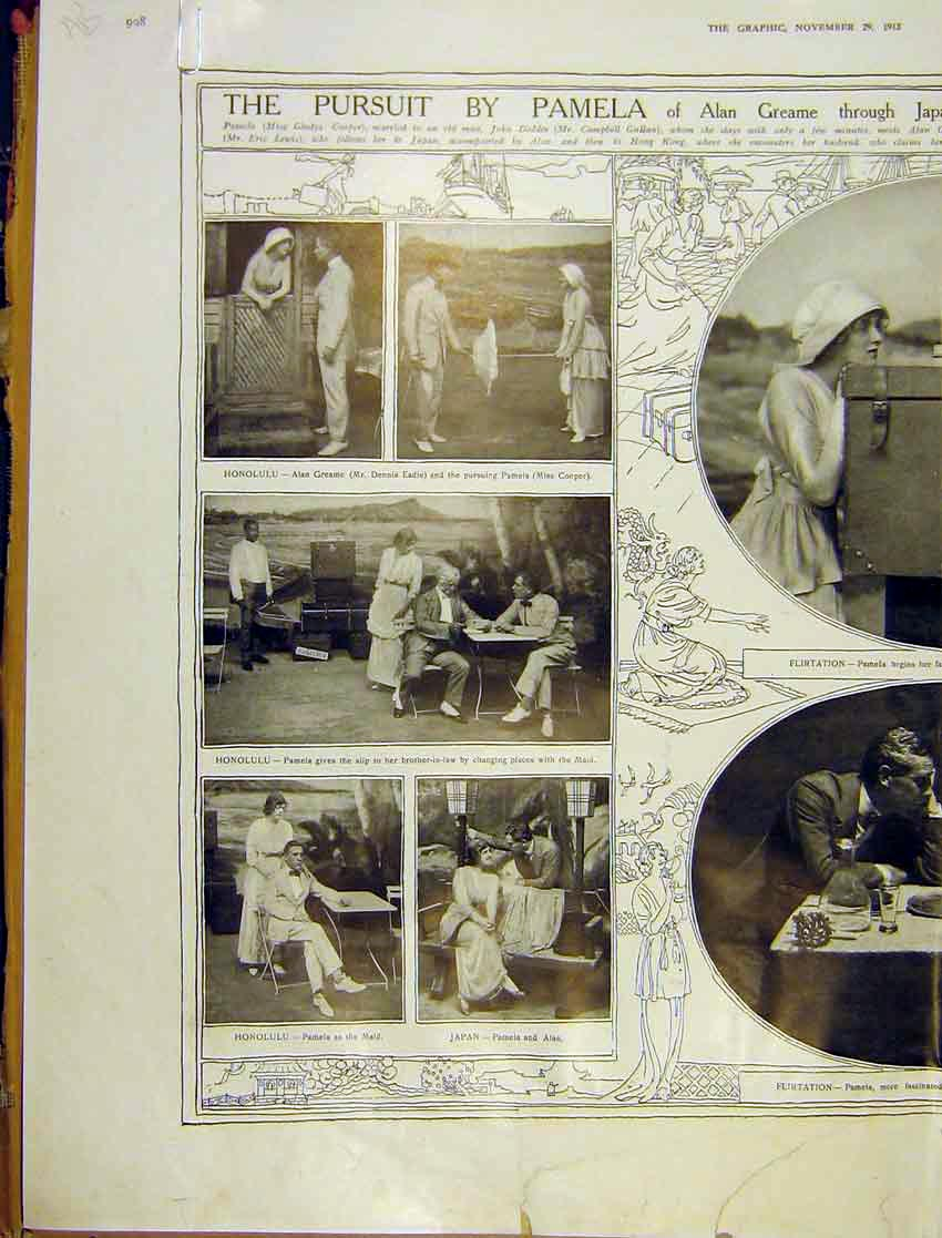 [Print Pusuit Pamela Graeme Play Royalty Theatre Actors 1913 08Addd1 Old Original]